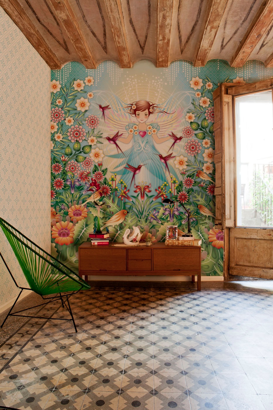 Beautiful illustrative wallpapers for Decoracion para pared vintage