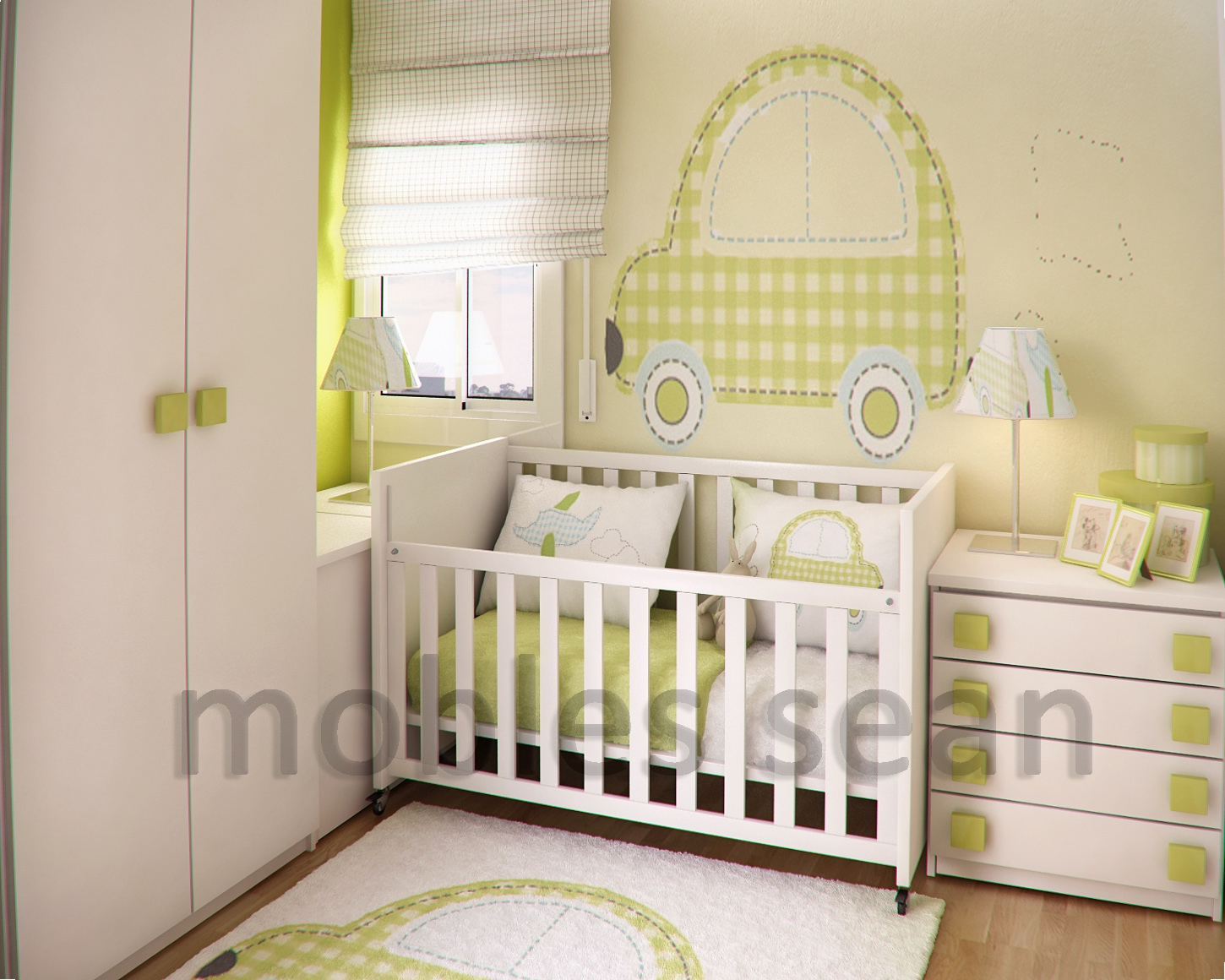 Space saving designs for small kids rooms for Baby nursery mural
