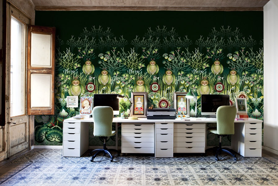 Beautiful illustrative wallpapers for Wallpaper design for office wall