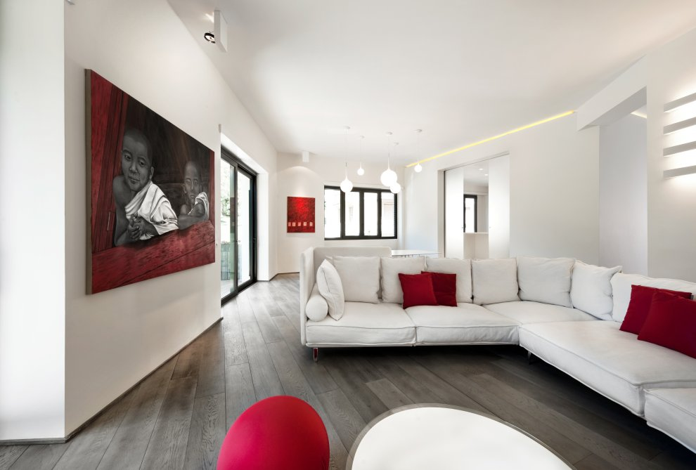 Red white apartment for Modern interior design living room white
