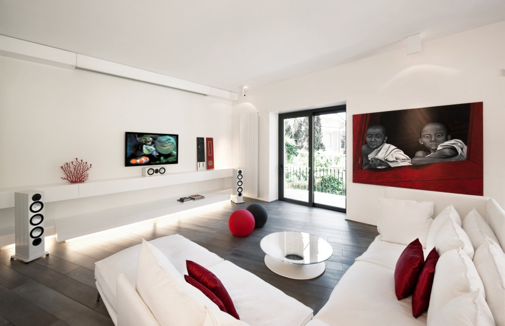 Red white modern minimalist living room interior design for Modern minimalist living room