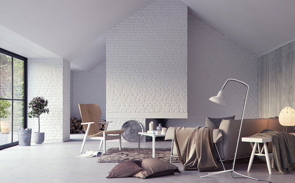 White exposed brick interior wall render interior design for Interior brick wall designs
