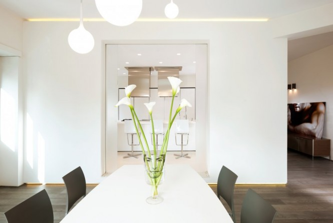 white minimalist dining room