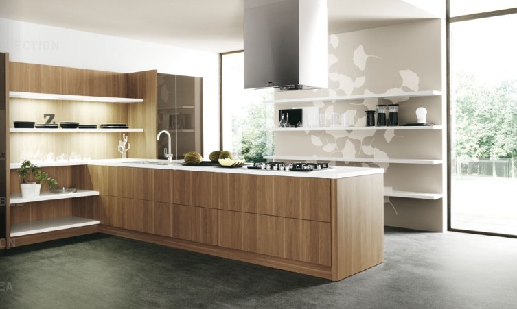 Wood slab modern kitchen units interior design ideas for Contemporary oak kitchen cabinets