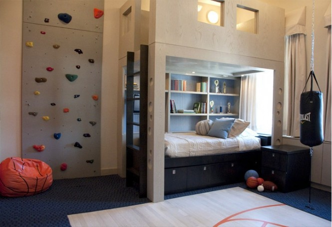 The no-holds-barred design brief meant that Perianth had free reign to create the ultimate boy cave, including a rock-climbing wall installation, a realistic mini basketball court and full sized punching bag to work out those adolescent strops.