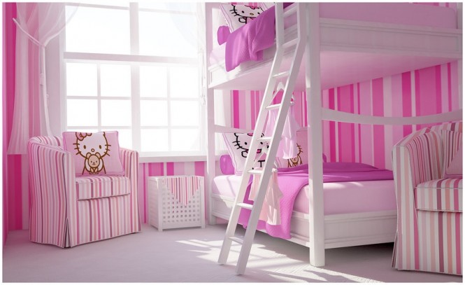 Pink white Hello Kitty girls bedroom