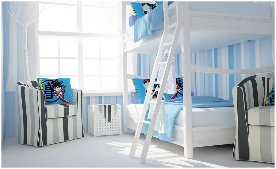 Kids rooms climbing walls and contemporary schemes for Blue and white boys room