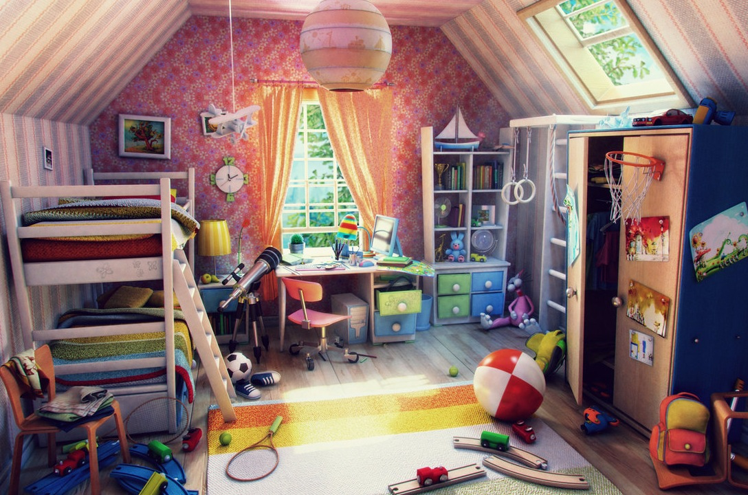 Colorful kids bedroom render | Interior Design Ideas.