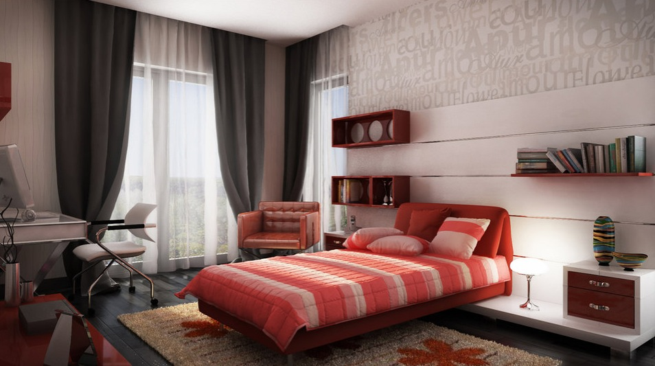 red and gray bedroom ideas