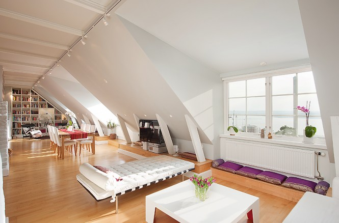 Attic room neutral decor