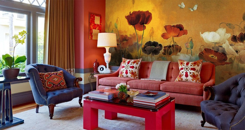 Sophisticated elegance of chinese interiors for Red wallpaper designs for living room
