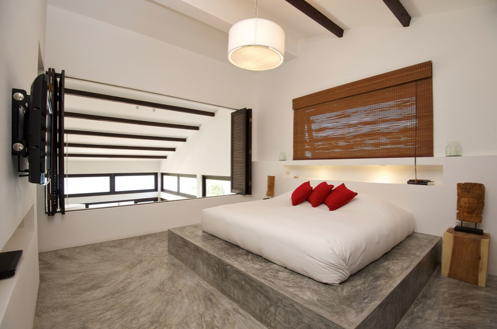 black white red bed bedroom conrete floor interior