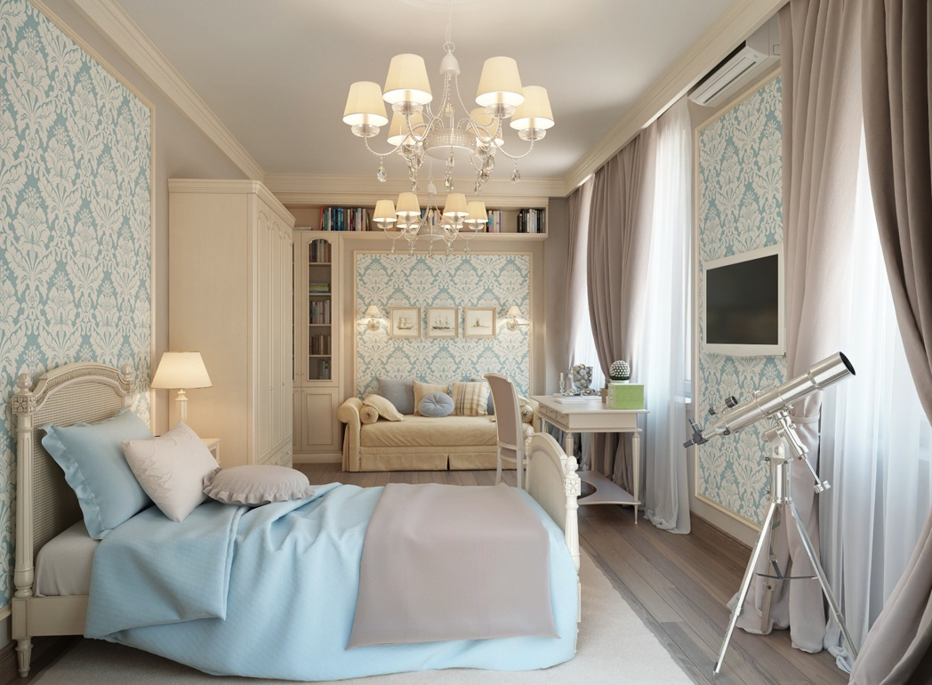 In the master bedroom suite, feminine fleur-de-lis wallpaper in powder