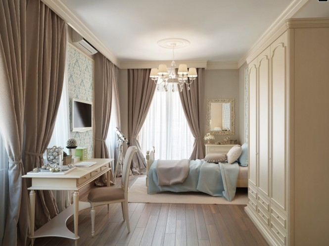 Blue Taupe Brown Traditional Bedroom