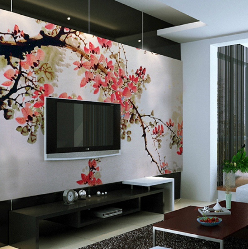 chinese cherry blossom wall. Black Bedroom Furniture Sets. Home Design Ideas