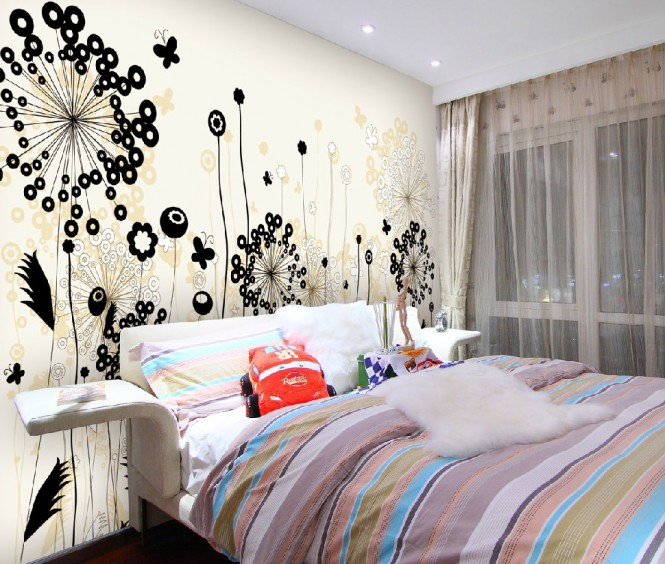 Floral modern wall design decal