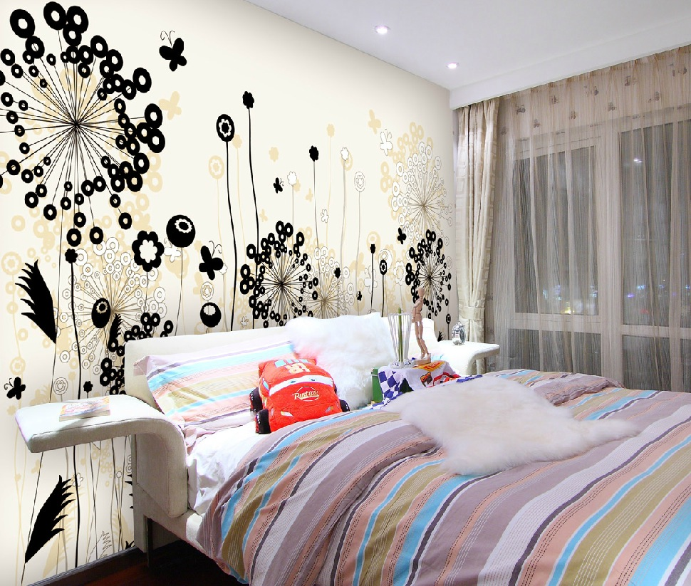 Modern bedroom wall decorating ideas - Floral Modern Wall Design Decal Interior Design Ideas