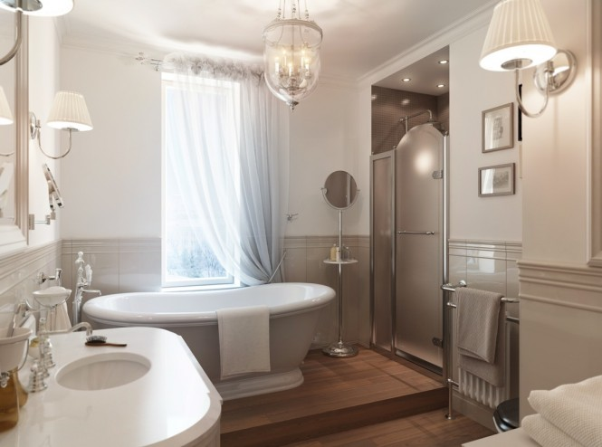 Classic furniture fills a lavish master bathroom suite, taking the decor back to a bygone era, whilst the mirror shine of chrome fixtures and fittings brings a freshness, and prevents the décor from appearing outdated.