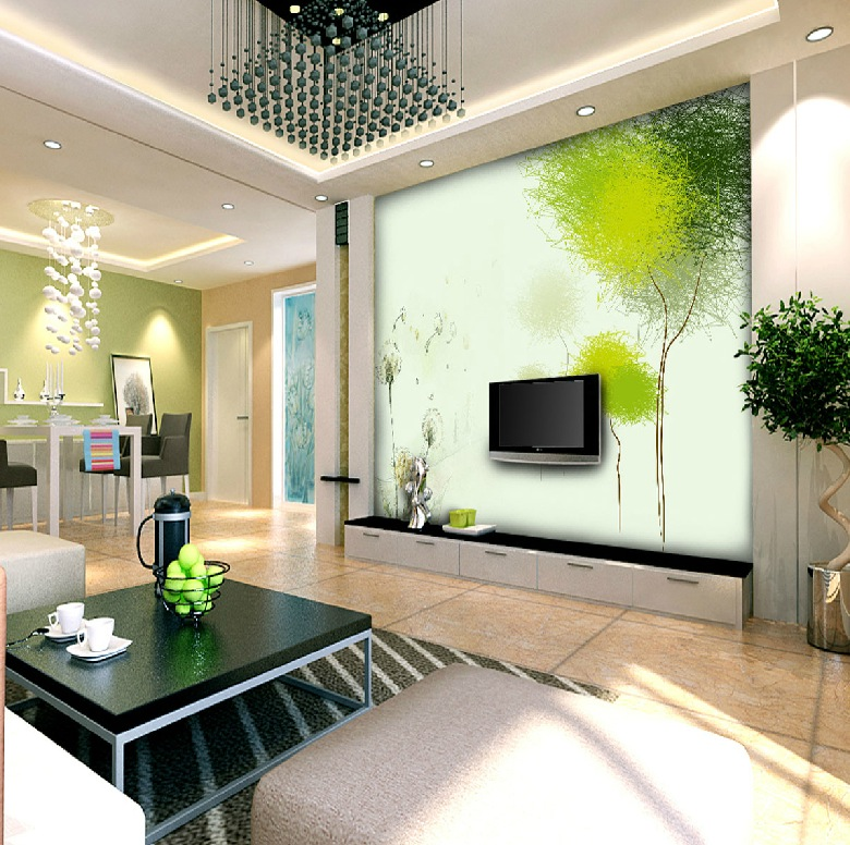 Green white open plan living space interior design ideas for Open space interior design