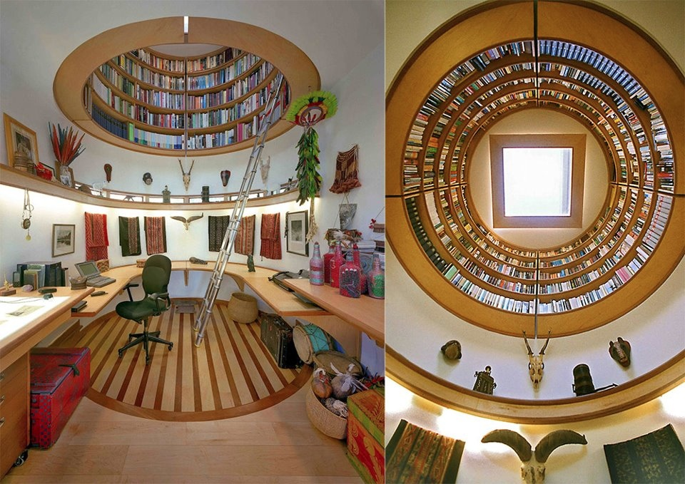 Home library ladder | Interior Design Ideas.