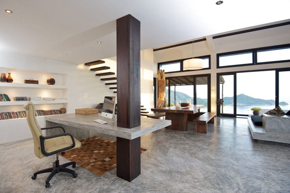 Tropical beach villa for Contemporary home office furniture