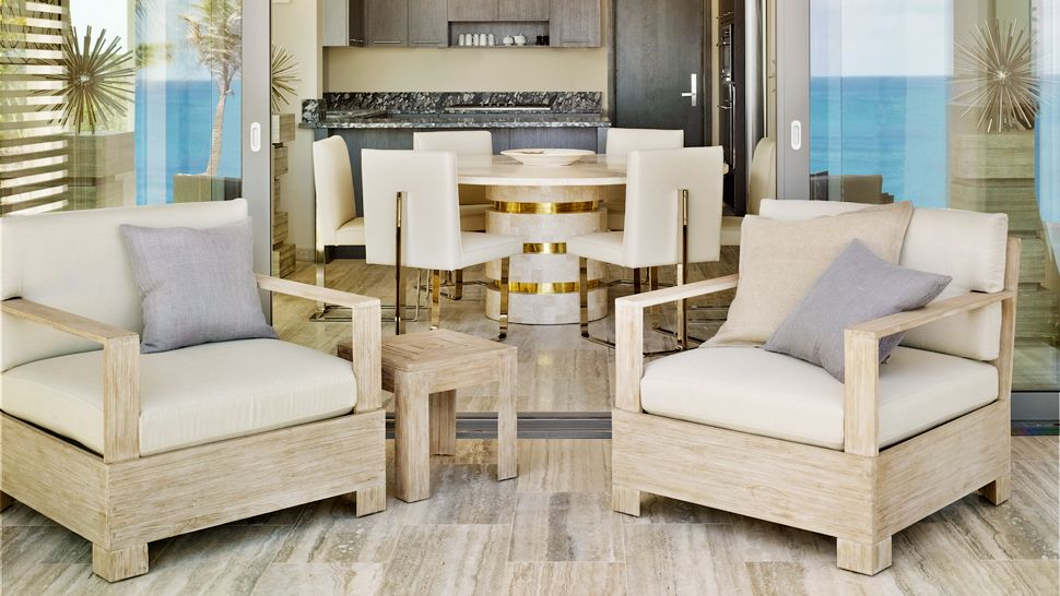 neutral dining room lounge | interior design ideas.