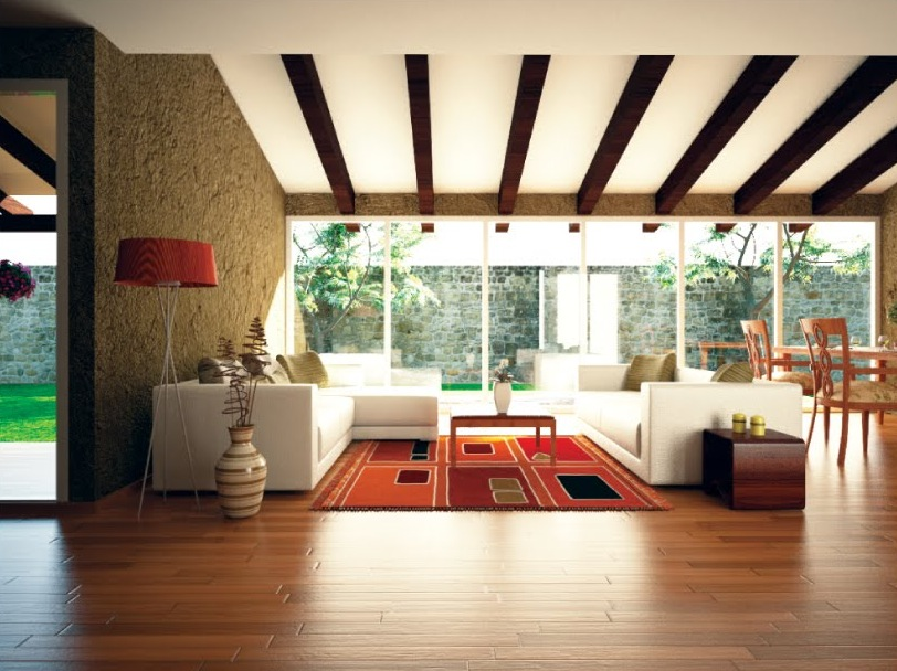 Orange accent living room ceiling beams interior design for Ceiling designs for living room images