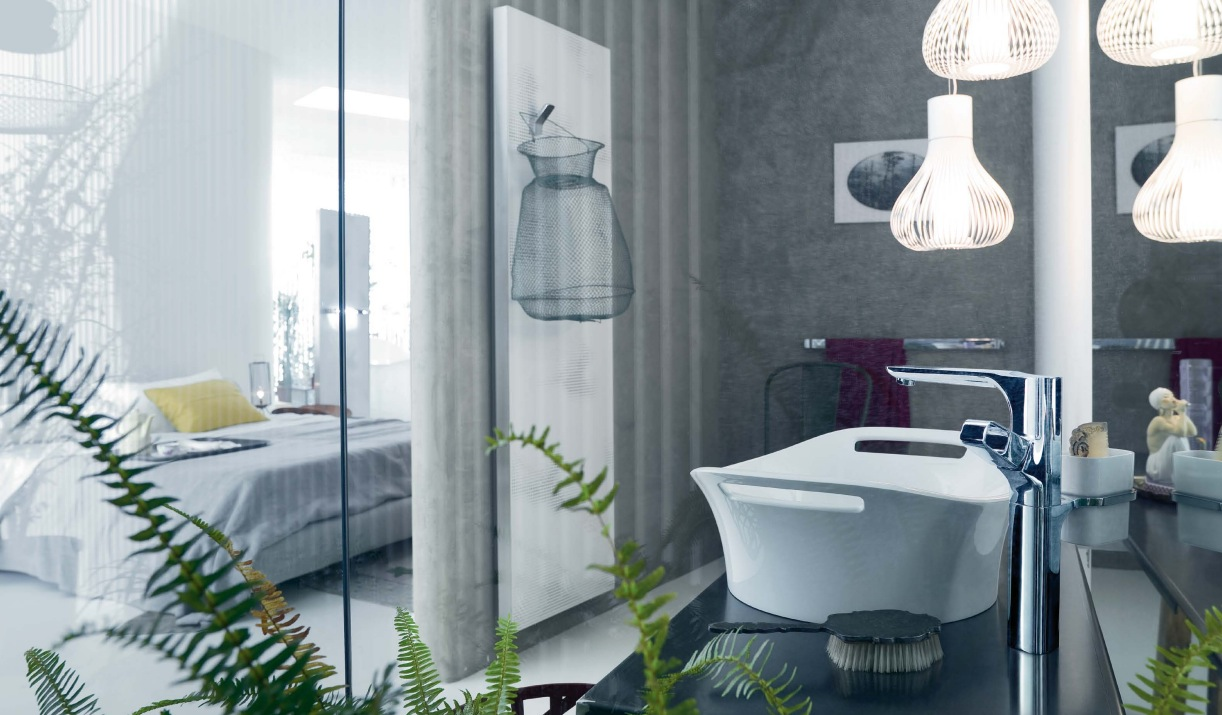 Patricia urquiola gray white ensuite bathroom interior for Ensuite bathroom designs