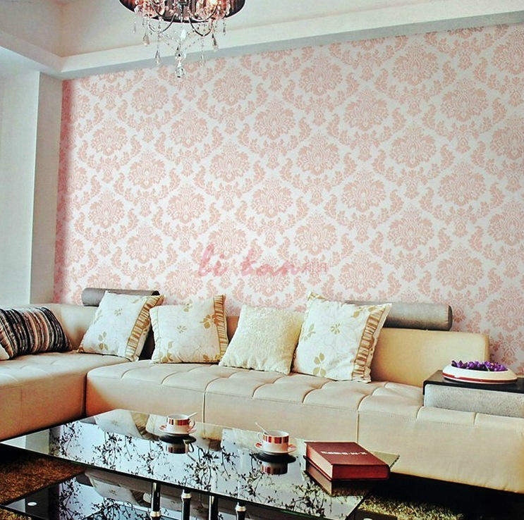 pink white fleur de lis wallpaper living room interior