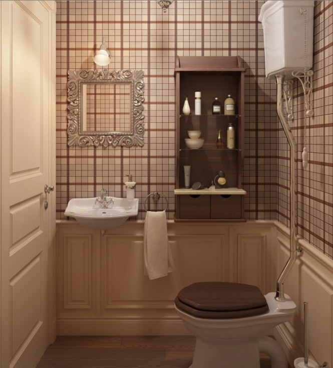 Even a cloakroom is given a statement look in more of the striking plaid pattern, which compliments the deep wood tones and classic style of sanitary ware.