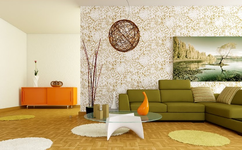 Retro white orange green living room interior design ideas for Retro style living room ideas