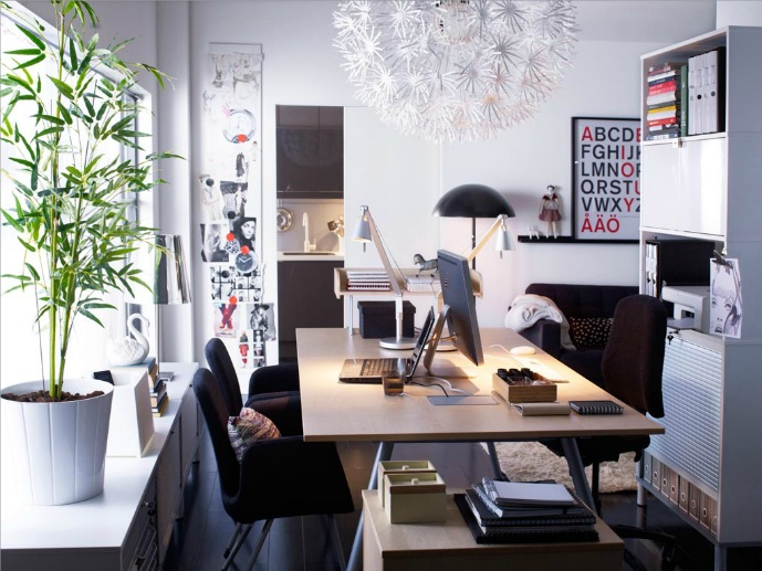 Scandinavian white red home office space interior design for Office room decoration ideas