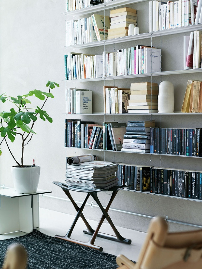 A Japanese Inspired Apartment With Plenty Storage Systems: String Shelving System