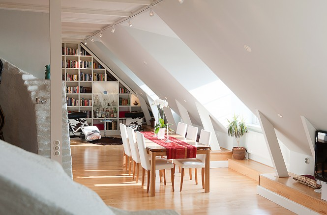 White dining room reading nook