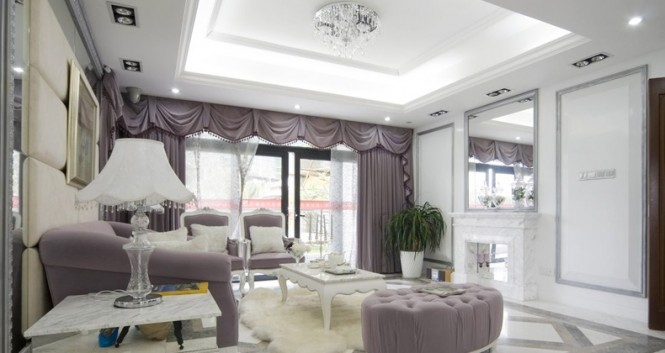 White mauve traditional living room