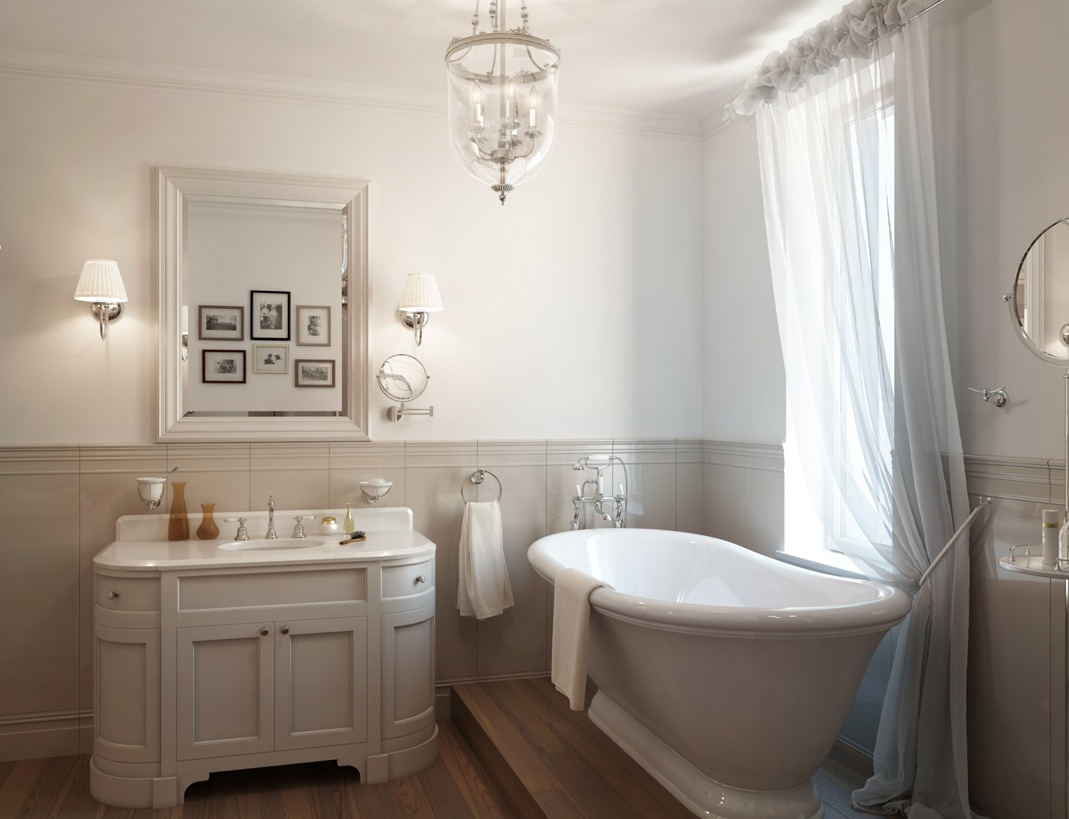 white traditional bathroom roll top bath interior design