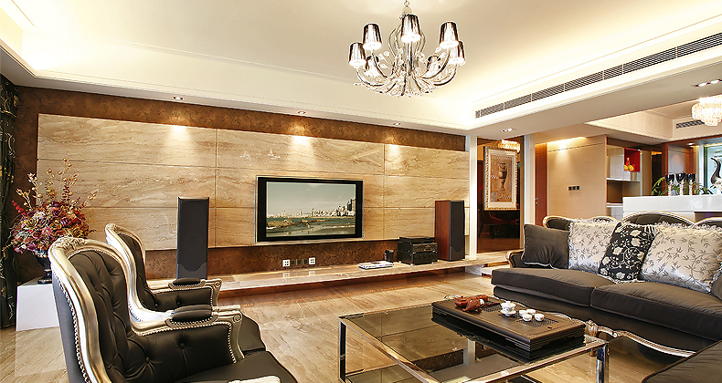 Wood paneling entertainment wall lounge Interior Design Ideas