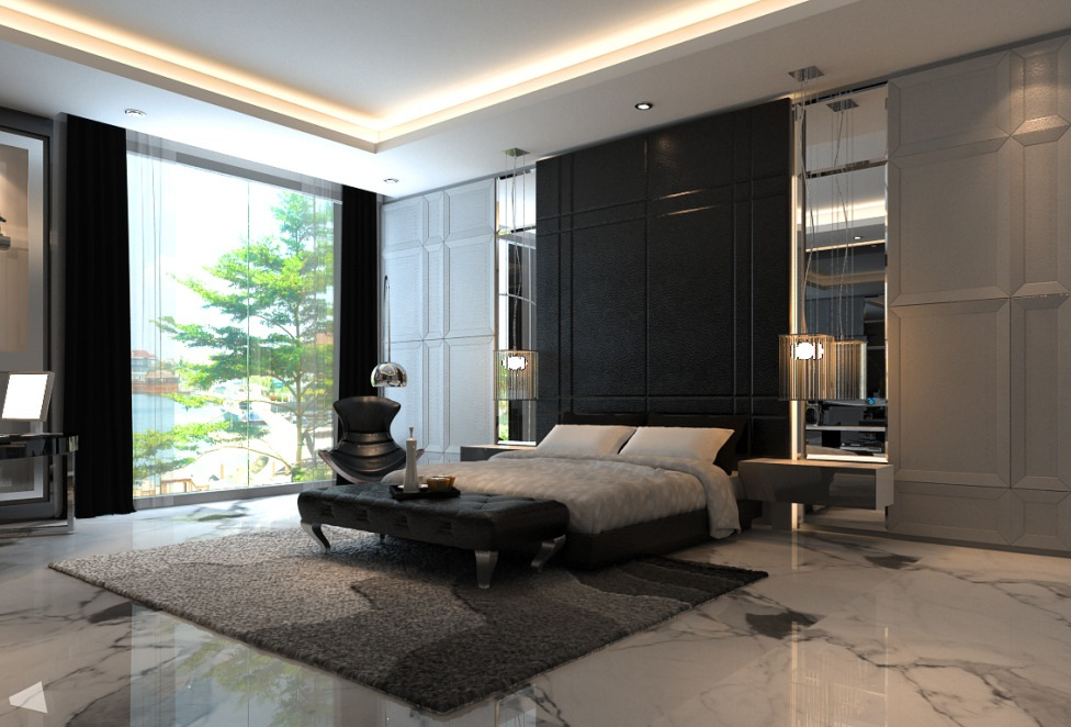 Bedroom feature wall black interior design ideas for Black wall room ideas