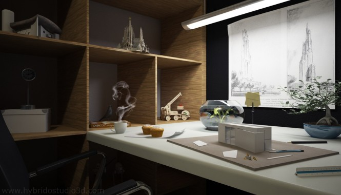 Via Hybrido Studio 3DArtist and Model Maker studios require lots of ingenious shelving to fill with supplies, and cubby holes to display previous works and precious prototypes; make the most of awkward shaped walls with made-to-measure cabinetry to keep everything at hand and organized.