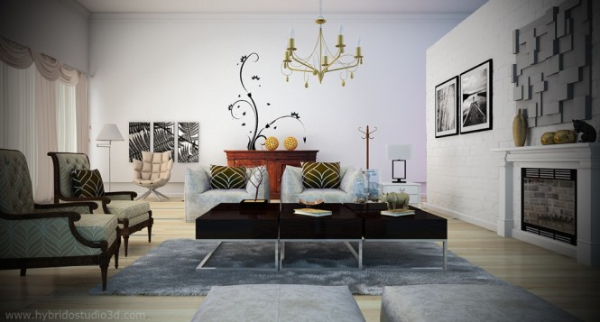 black white living room yellow chandelier