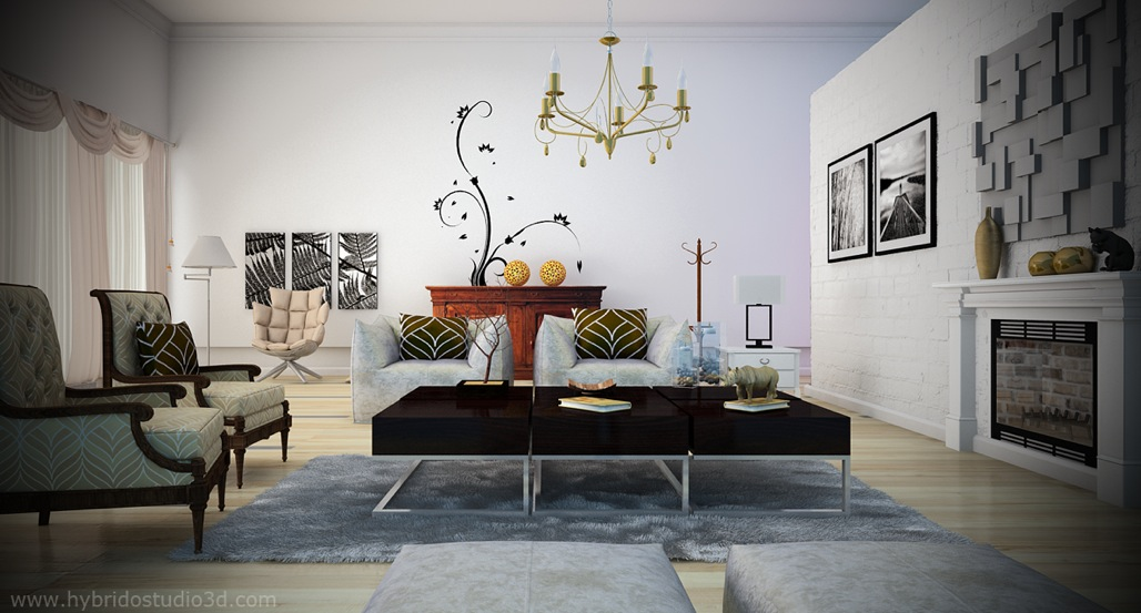 Black White Living Room Yellow Chandelier Interior