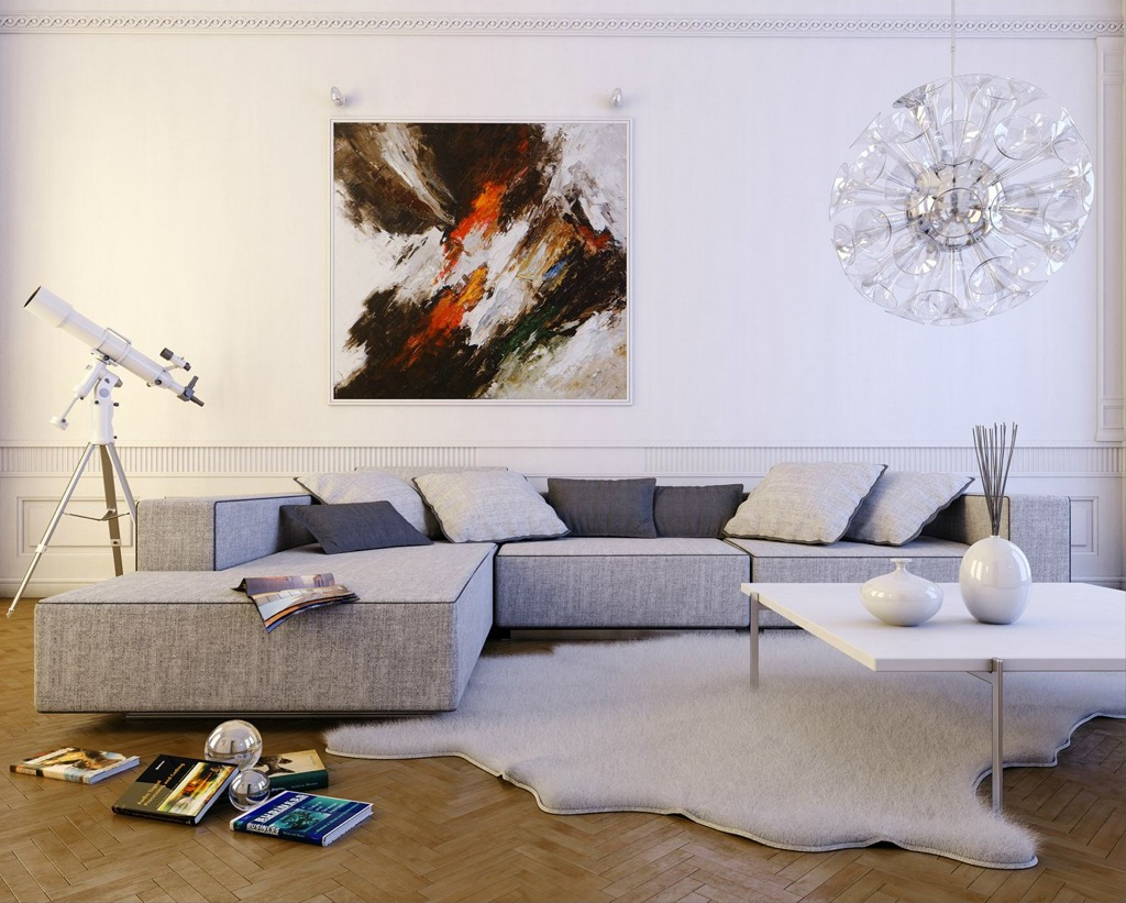 Contemporary light gray l shaped sofa interior design ideas - Decoration mural salon ...