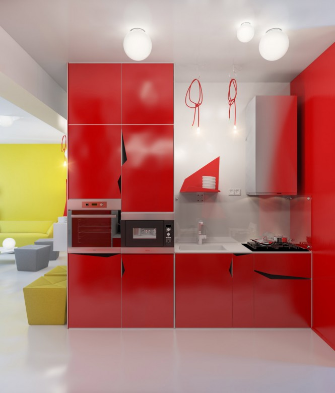 contemporary red kitchen units