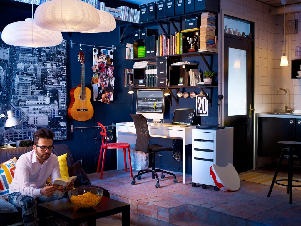 funky workspaces with artistic flair. Black Bedroom Furniture Sets. Home Design Ideas