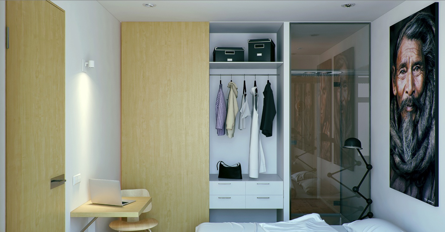 Small apartment with foldaway features for Apartment wardrobe design