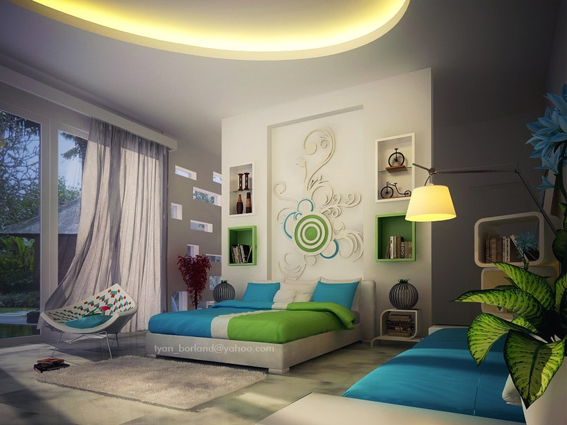 green blue white contemporary bedroom decor interior design ideas