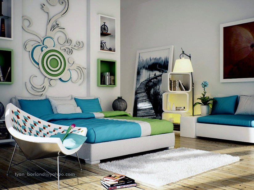 green blue white contemporary bedroom design interior