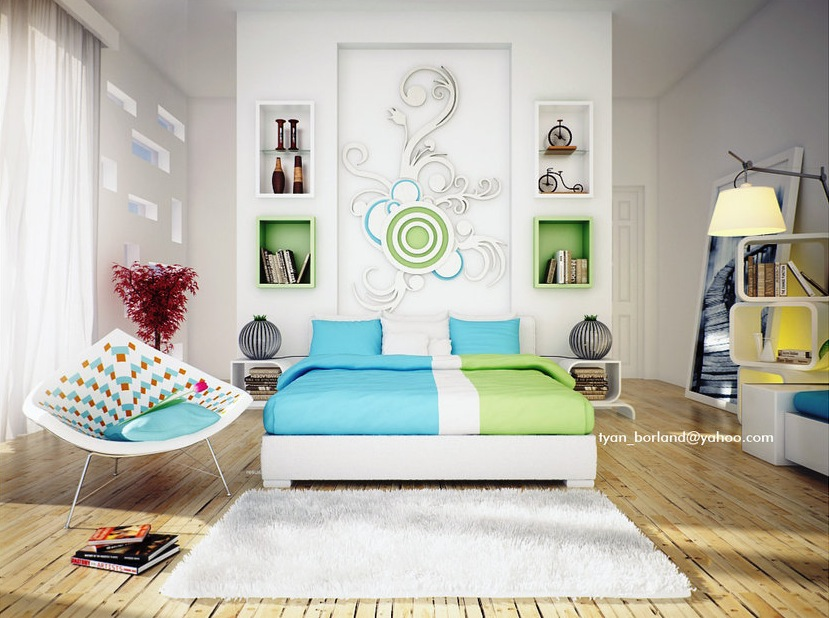 Green Modern Interior Design Bedroom  Best House Design Ideas