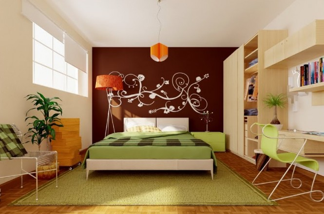 green brown orange modern bedroom