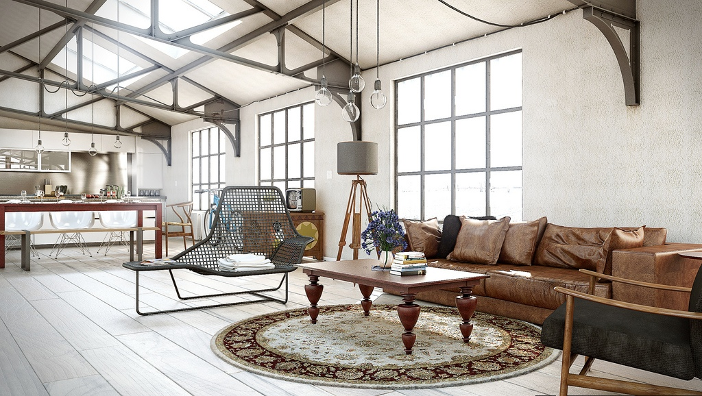 Industrial utilitarian living space interior design ideas for Industrial chic living room